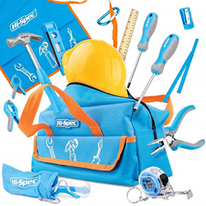 Hi-Spec 18 Pieces Children's Tool Kit with Real Small-Sized Hand Tools, Safety a