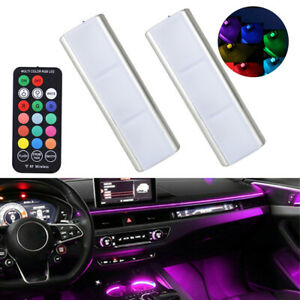 2x Colorful RGB LED Car Interior Accessories Floor Atmosphere Light USB Charging
