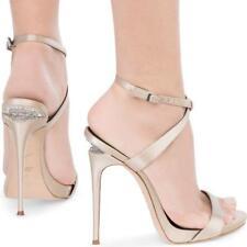 Giuseppe Zanotti Dionne Sandal Champagne Satin Crystal Sculpted Heel 40 Auth$895