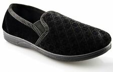 Mens Slippers Boxed Slip On Velour Twin Gusset Shoes Size