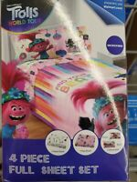 Trolls Find Your Beat Full Size Microfiber Bed Sheet Set 4 Piece.