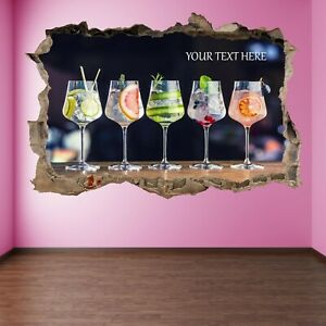 Cocktails Wall Art Stickers Decal with Personalised Text Pub Bar Decor HG11
