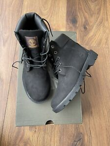 New Timberland Boys Waterproof Black Nubuck Boots Size UK 3.5 EU 36