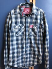 SUPERDRY BLUE CHECKED LONG SLEEVED SHIRT Size S