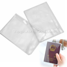 2x Transparent Plastic Travel Passport Case Holder Protect Cover ID Card Folder