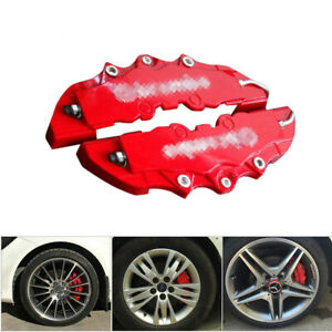 2x Red ABS Auto Car Wheel Brake Caliper Cover Front Rear Dust Resist Protection