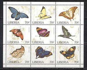 LIBERIA 1996 Scott 1204 BUTTERFLIES,  SHEET OF 9 DIFFERENT, MNH