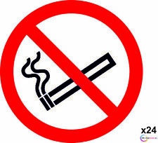 24 CLEAR NO SMOKING SIGNS-WINDOW STICKERS-75MM-Car/Taxi/Bus/Business/VEHICLE