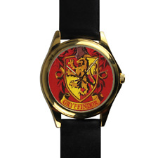 Gryffindor House Harry Potter Wizard School of Magic Gold Leather Strap Watch
