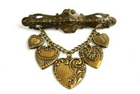 Vintage Jewelry Pin Brooch Hanging Dangle Hearts Brass