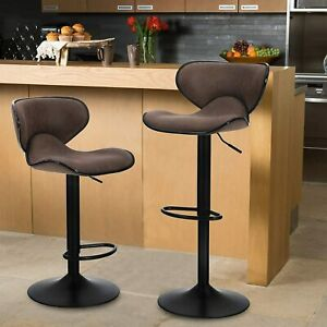 Set of 2 Bar Stools Adjustable PU Leather Counter Height Swivel Bar Chairs Seat