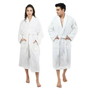 100% Cotton Terry Bathrobe with Pocket Toweling Dressing Gown Robes for Adults