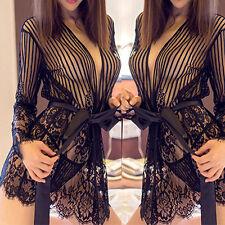 Lady Lingerie Sleepwear Robe Babydoll Dress Nightwear + G-String Sous-Vêtements H M a