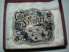 New listing Gist Silversmiths George Strait Silver Belt Buckle 4 X 3 1/2 In Box