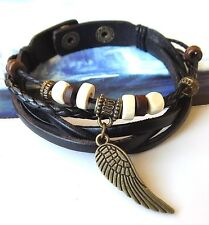 Surfer Character Leather Bracelet Wristband Men Angel's Wing New Age Fashion