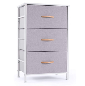 ROMOON Nightstand Chest with 3 Fabric Drawers. Bedside Furniture
