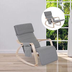 HOMCOM Adjustable Footrest Side Pocket Rocking Lounge Chair