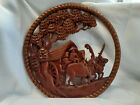 Vtg Hand Carved Ornate Round Shaped Wooden Wall Hanging Decor Philippines? Oxen
