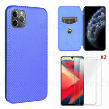 Flip Carbon Fiber Pattern Stand Wallet Magnetic Phone Case With Tempered film G