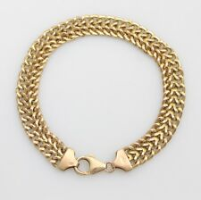 Vintage 9ct Gold Flat Double Curb Link Chain Bracelet 6.8g Hallmarked Scrap