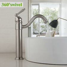 Nickel Brushed Bathroom Basin Sink Faucet Deck Mount Mixer Water to Washbasin