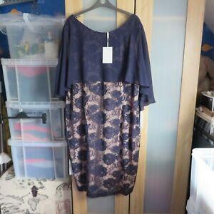 GINA BACCONI Navy Lace Dress size 26 BNWT