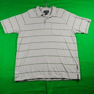 Abercrombie & Fitch Polo Shirt Men's Large Navy Striped Gray Pocket Hi Low Hem