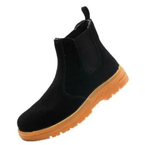 MENS WOMENS NEW SAFETY WORK STEEL TOE CAP SLIP ON SHOES CHELSEA BOOTS ANKLE SIZE