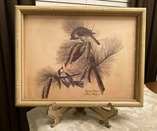 Vintage Bamboo Style Frame Crested Titmouse BIRD PRINT Parus Bicolor