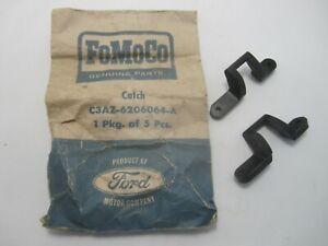 63-64 Ford Galaxie Custom 500 Glove Box Lock Catch NOS Pair C3AZ-6206064-A