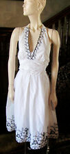 DRESSBARN Vintage Pin Up Girl Style White Cotton Dress With Black Detail Sz12
