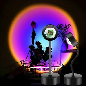 Rainbow Projector Projection USB Atmosphere LED Desk Night Lights Lamp Decor NEW