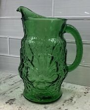 """Vintage Glass Pitcher LIBBEY COUNTRY GARDENS Green Daisy Pattern Retro Glass 10"""""""
