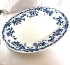 "Cauldon England Flow Blue BWM Brown Westhead Moore 15"" Platter Oversized Plate"