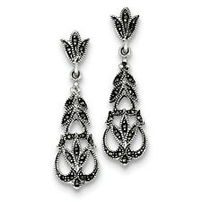 Antique Dangle Marcasite Post Earrings 925 Sterling Silver