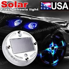 4X Solar LED Wheel Center Cap Light Neon Hub Undercar Under Car Body Glow Set 10