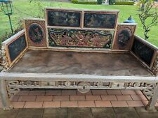 Vintage Timber Hand Carved Lounge , outdoor day bed oriental design