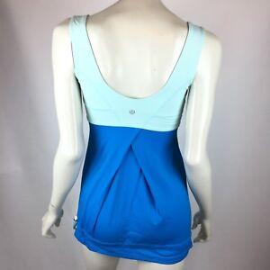 Lululemon Run Back On Track Tank Aqua Blue Draw cord Hem Wide Straps Women 4