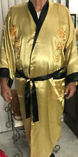 VINTAGE RARE CHINESE JAPANESE MEN'S LARGE KIMONO REVERSIBLE SILK ROBE EMBROIDERY