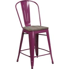 "Flash Furniture 24"" Purple Metal Counter Ht. Stool w/Back - ET-3534-24-PUR-WD-GG"