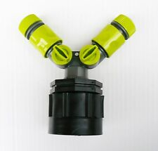 """IBC ADAPTER(H/D) to 2x 1/2"""" Snap on Hose Connector c/w ON/OFF Taps & Female Ctrs"""