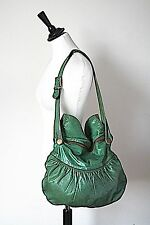 Large Green Leather Shoulder Bag - Ucci Moda - 1970s