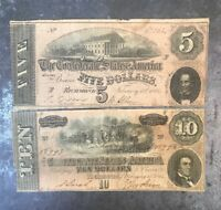 1864 Confederate Civil War Notes $5 AND $10 (2) Note Currency Lot FREE SHIPPING!