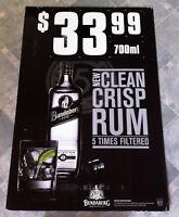 Vintage Bundaberg Rum Five 700ml Bottle Corflute Advertising Display Sign