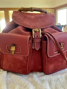 Authentic Gucci Backpack Red Suede Leather Vintage Clean Condition
