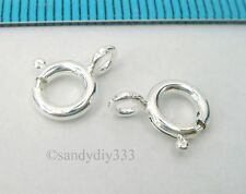 10x ITALIAN STERLING SILVER SPRING ROUND RING CLASP 7mm #2563