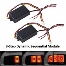 1 Pair 3-Step Rear Sequential Flow Semi Dynamic Chase Flash Taillight Module Box