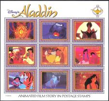 Guyana 1993 Disney/películas/Aladdin/Tiger/Mono/cine/animales Sht 9 V (d00234s)
