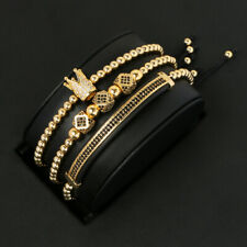 3Pcs/set Luxury CZ Imperial King Crown Bracelets Men's Charm Beads Bracelet Gift