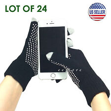 Wholesale Lot of 24 Touch Screen Gloves Smartphone Tablet Pad US Stock (BLACK)